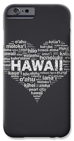 Big Island iPhone Cases - I Love Hawaii iPhone Case by Aged Pixel