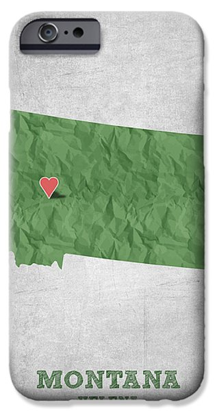 Montana State Map iPhone Cases - I love Helena Montana - Green iPhone Case by Aged Pixel
