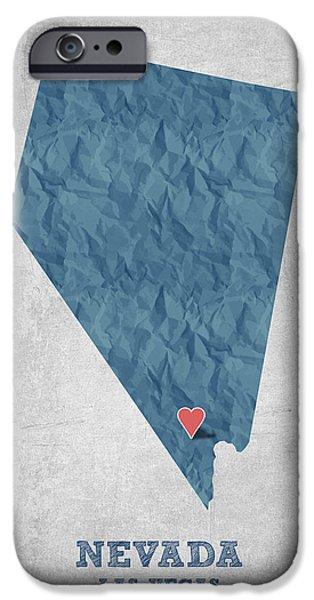 Las Vegas Art iPhone Cases - I love Las Vegas Nevada - Blue iPhone Case by Aged Pixel