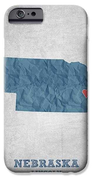 Nebraska iPhone Cases - I love Lincoln Nebraska - Blue iPhone Case by Aged Pixel