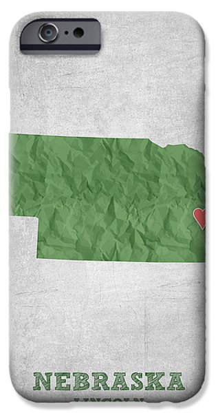 Nebraska iPhone Cases - I love Lincoln Nebraska - Green iPhone Case by Aged Pixel