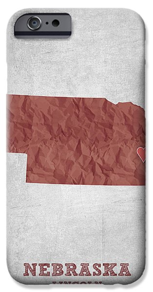 Nebraska Digital iPhone Cases - I love Lincoln Nebraska - Red iPhone Case by Aged Pixel