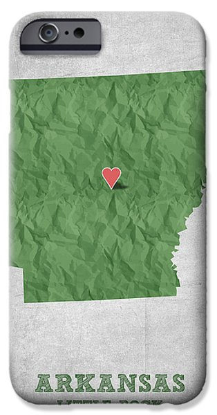 Arkansas iPhone Cases - I love Little Rock Arkansas - Green iPhone Case by Aged Pixel