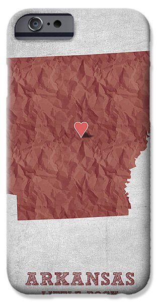 Arkansas iPhone Cases - I love Little Rock Arkansas - Red iPhone Case by Aged Pixel