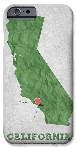 California State Map iPhone Cases - I love Los Angeles California - Green iPhone Case by Aged Pixel