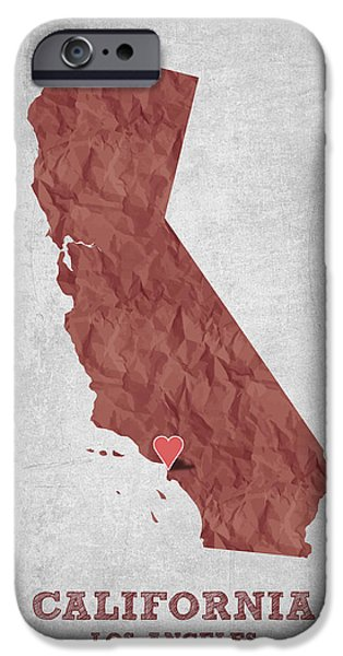 California State Map iPhone Cases - I love Los Angeles California - Red iPhone Case by Aged Pixel