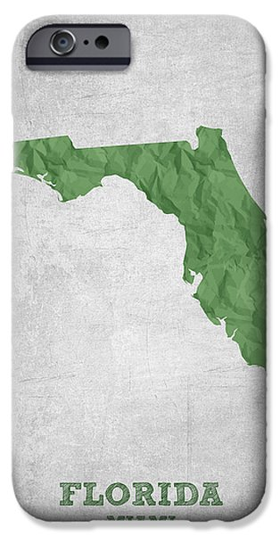 Miami Digital Art iPhone Cases - I love Miami Florida - Green iPhone Case by Aged Pixel