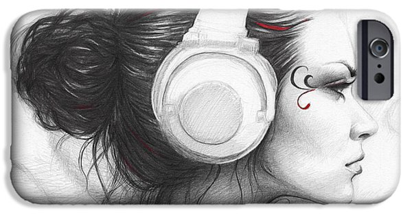 Black Portrait Drawings iPhone Cases - I Love Music iPhone Case by Olga Shvartsur