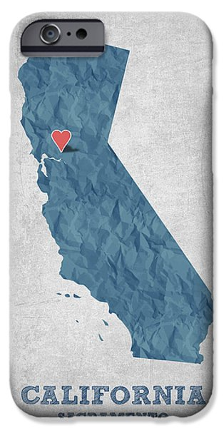 California State Map iPhone Cases - I love Sacramento California - Blue iPhone Case by Aged Pixel