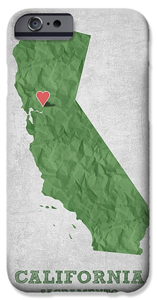 California State Map iPhone Cases - I love Sacramento California - Green iPhone Case by Aged Pixel