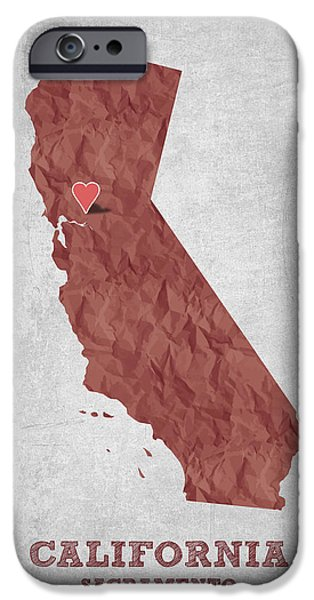 California State Map iPhone Cases - I love Sacramento California - Red iPhone Case by Aged Pixel