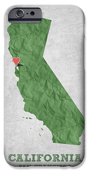 California State Map iPhone Cases - I love San Francisco California - Green iPhone Case by Aged Pixel