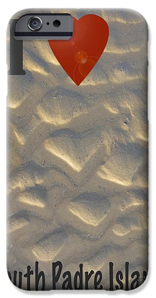 Shape iPhone Cases - I Love South Padre Island iPhone Case by Dominique Fortier