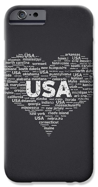 Independence Day Mixed Media iPhone Cases - I Love USA iPhone Case by Aged Pixel