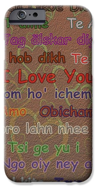 Business Digital iPhone Cases - I Love You 15 Languages  iPhone Case by David Dehner