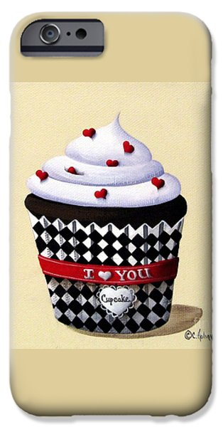 I Love You Cupcake iPhone Case by Catherine Holman