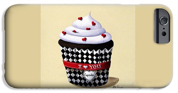 Folk Art iPhone Cases - I Love You Cupcake iPhone Case by Catherine Holman