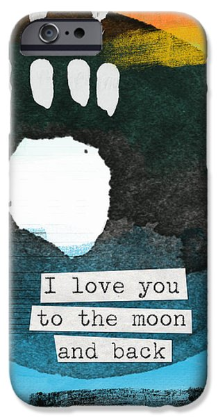 Pop Mixed Media iPhone Cases - I Love You To The Moon And Back- abstract art iPhone Case by Linda Woods