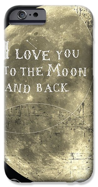 Dark Skies Digital iPhone Cases - I love you to the moon and back iPhone Case by Cindy Greenbean