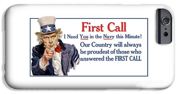 Recently Sold -  - Ww1 iPhone Cases - I Need You In The Navy - Uncle Sam WWI iPhone Case by War Is Hell Store