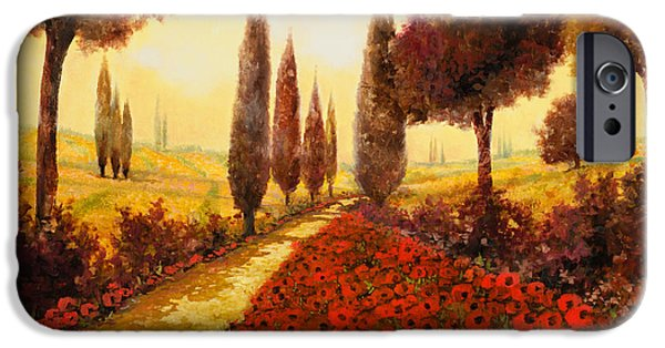 Sunset Paintings iPhone Cases - I Papaveri In Estate iPhone Case by Guido Borelli