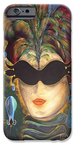 Mardi Gras Paintings iPhone Cases - I put a spell on you... iPhone Case by Jolanta Anna Karolska