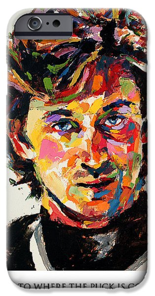 Wayne Gretzky iPhone Cases - I skate to where the puck is going to be not where it has been Wayne Gretzky iPhone Case by Derek Russell
