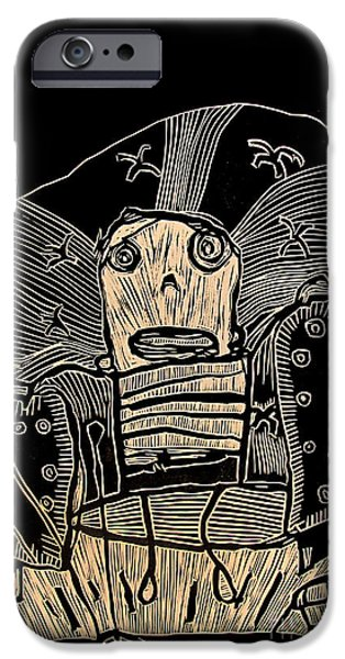 Printmaking iPhone Cases - I Think It Thinks I Dont Think iPhone Case by Charlie Spear