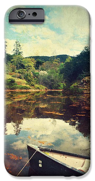Row Boat Digital iPhone Cases - I Tried to Get to You iPhone Case by Laurie Search