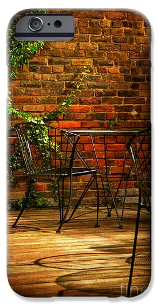 Patio Table And Chairs iPhone Cases - I waited for you iPhone Case by Lois Bryan