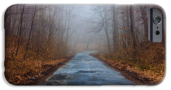 Winter Scene iPhone Cases - I Walk A Lonely Road iPhone Case by Pati Photography