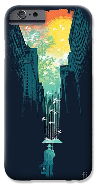 Rainy Day iPhone Cases - I want my blue sky iPhone Case by Budi Kwan
