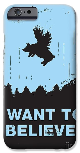 Pigs iPhone Cases - I want to believe iPhone Case by Budi Kwan