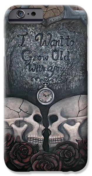 Headstones Paintings iPhone Cases - I Want to Grow Old With You iPhone Case by Meranda Hedderson