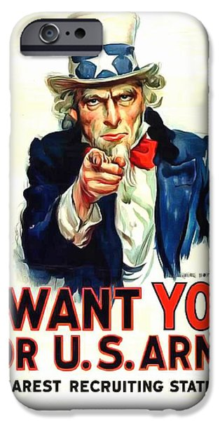 World War One Paintings iPhone Cases - I Want YOU For U S Army iPhone Case by US Army WW I Recruiting Poster