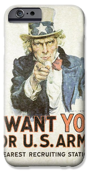 Wwi iPhone Cases - I Want You For U.S. Army iPhone Case by B Christopher