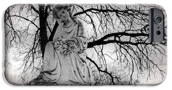 Headstones iPhone Cases - I Will Sit With You Always iPhone Case by Dorothy Pinder