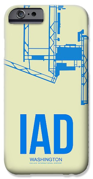 Town iPhone Cases - IAD Washington Airport Poster 1 iPhone Case by Naxart Studio