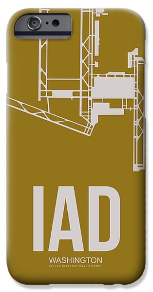 Cities Mixed Media iPhone Cases - IAD Washington Airport Poster 3 iPhone Case by Naxart Studio