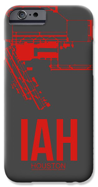 Towns Digital Art iPhone Cases - IAH Houston Airport Poster 1 iPhone Case by Naxart Studio