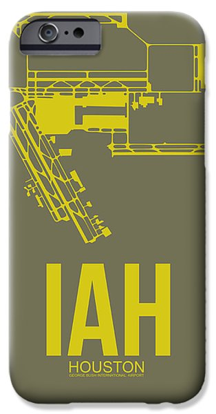 Town iPhone Cases - IAH Houston Airport Poster 2 iPhone Case by Naxart Studio