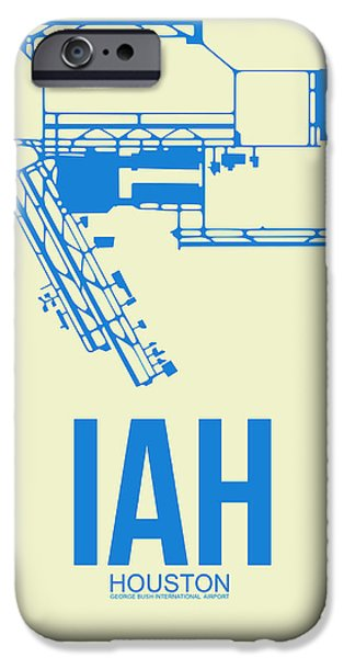Collection iPhone Cases - IAH Houston Airport Poster 3 iPhone Case by Naxart Studio