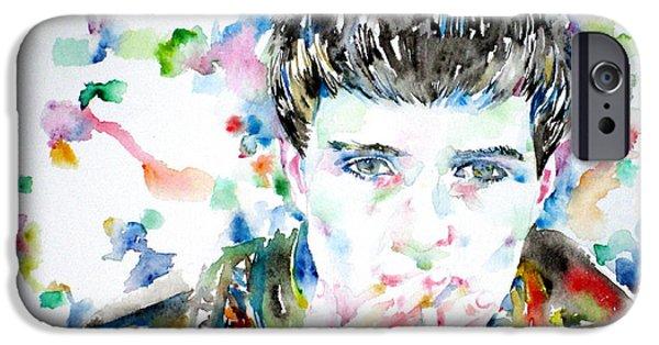 Ian iPhone Cases - Ian Curtis Smoking Cigarette Watercolor Portrait iPhone Case by Fabrizio Cassetta