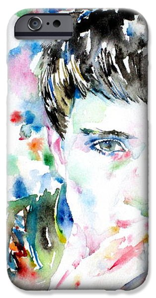 IAN CURTIS SMOKING CIGARETTE WATERCOLOR PORTRAIT iPhone Case by Fabrizio Cassetta