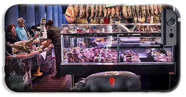 Delicatessen iPhone Cases - Iberico Ham shop in La Boqueria Market in Barcelona iPhone Case by David Smith
