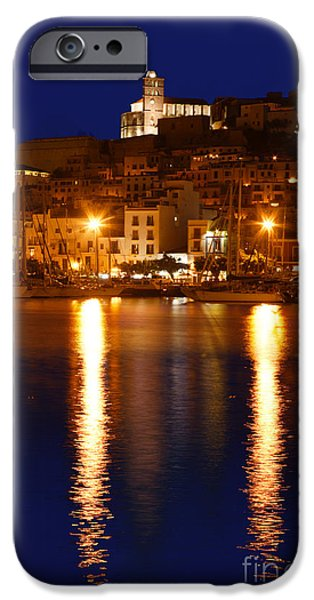 Dalt iPhone Cases - Ibiza old town at night iPhone Case by Rosemary Calvert