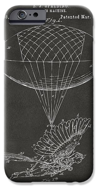 Greek Mythology iPhone Cases - Icarus Airborn Patent Artwork Gray iPhone Case by Nikki Marie Smith