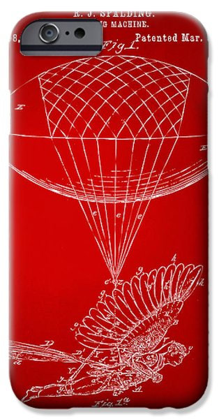 Greek Mythology iPhone Cases - Icarus Airborn Patent Artwork Red iPhone Case by Nikki Marie Smith