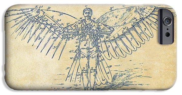 Greek Mythology iPhone Cases - Icarus Flying Machine Patent Artwork Vintage iPhone Case by Nikki Marie Smith