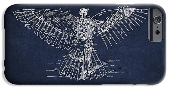 Flight iPhone Cases - Icarus Flying machine Patent Drawing Rear View iPhone Case by Aged Pixel